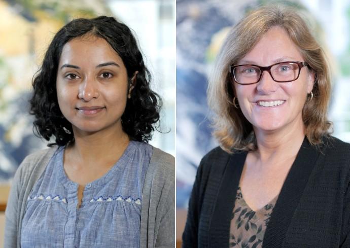 Assistant Professor Tripti Bhattacharya (left) and Professor Linda Ivany