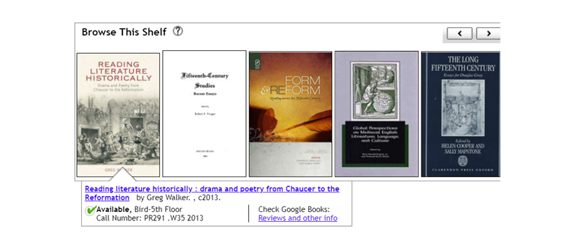 """screenshot of """"Browse This Shelf"""" feature in library catalog"""