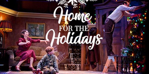three people on a stage set with the words Home for the Holidays at the top