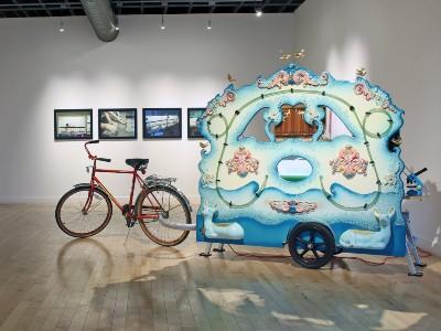bicycle propelled street organ that grows and displays living algae