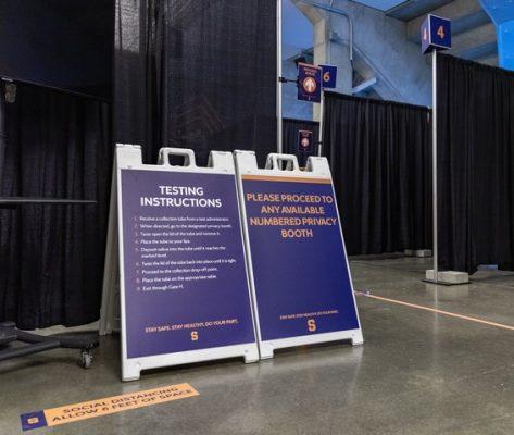 Instructional signage at Stadium Testing Center