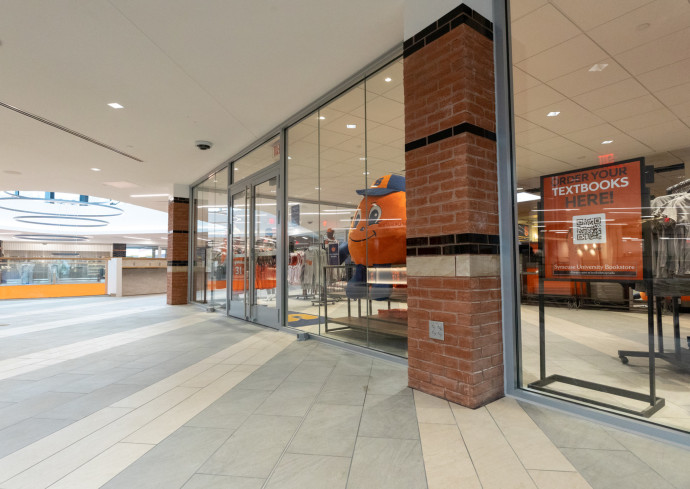 hallway outside Campus Store in Schine Student Center