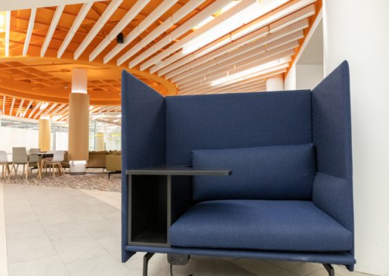 chair inside Schine Student Center