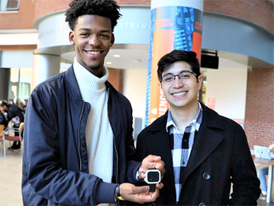 Russell Fearon and Ricardo Sanchez pose with their invention