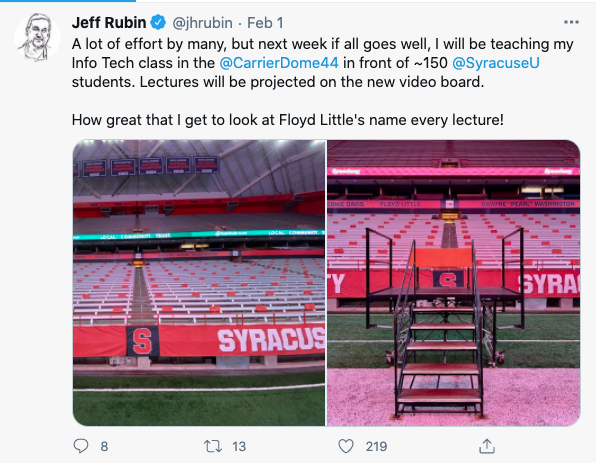 Tweet from Jeff Rubin showing location of where students will sit in his class.