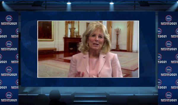Screen capture of Jill Biden delivering keynote speech at virtual conference
