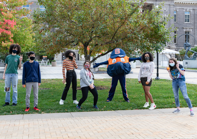 students on campus with Otto