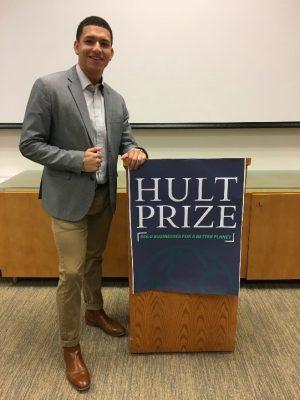 Justin Diaz at Hult Prize podium