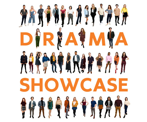 graphic with words Drama Showcase and rows of people