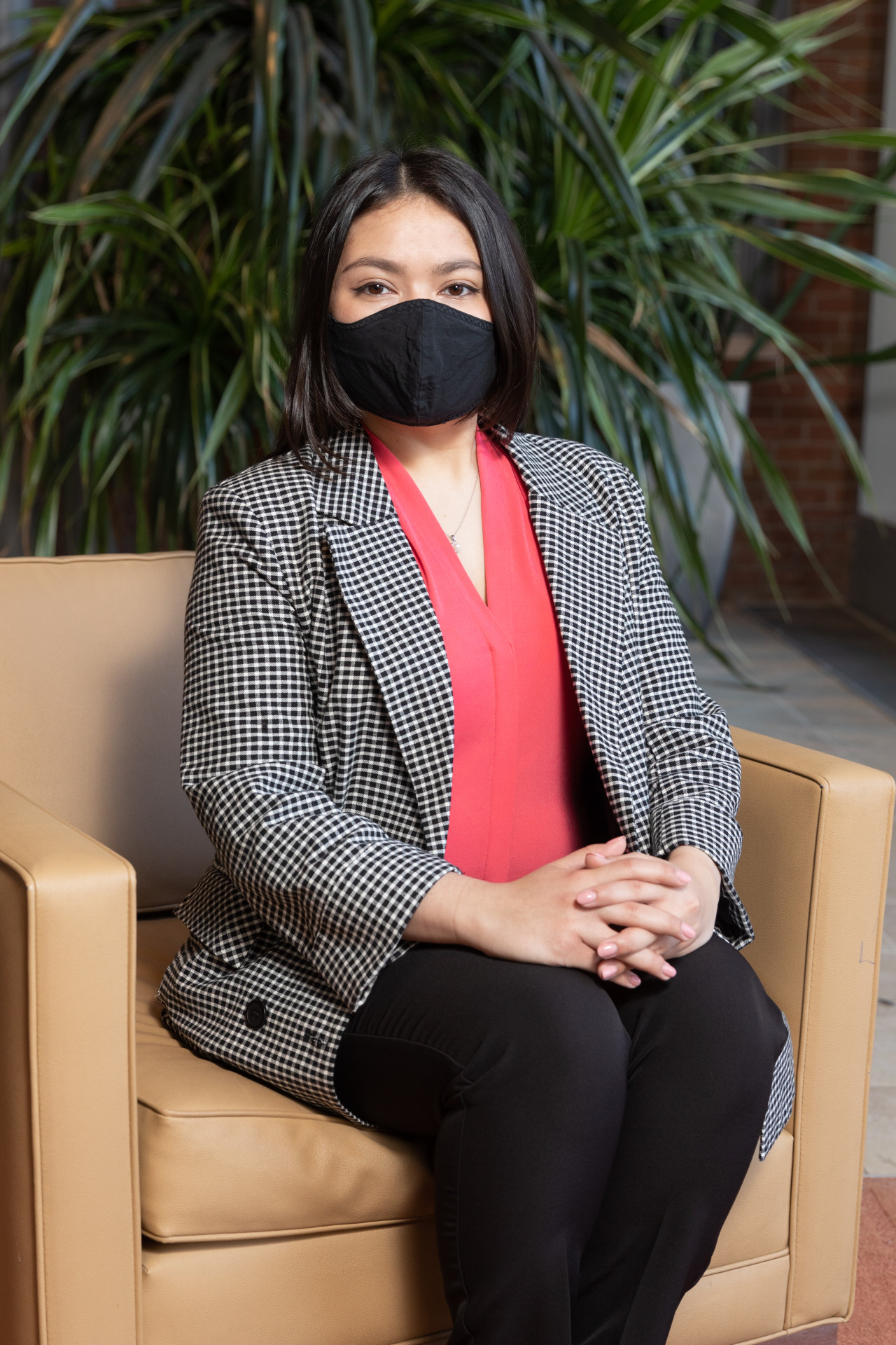 person sitting in mask