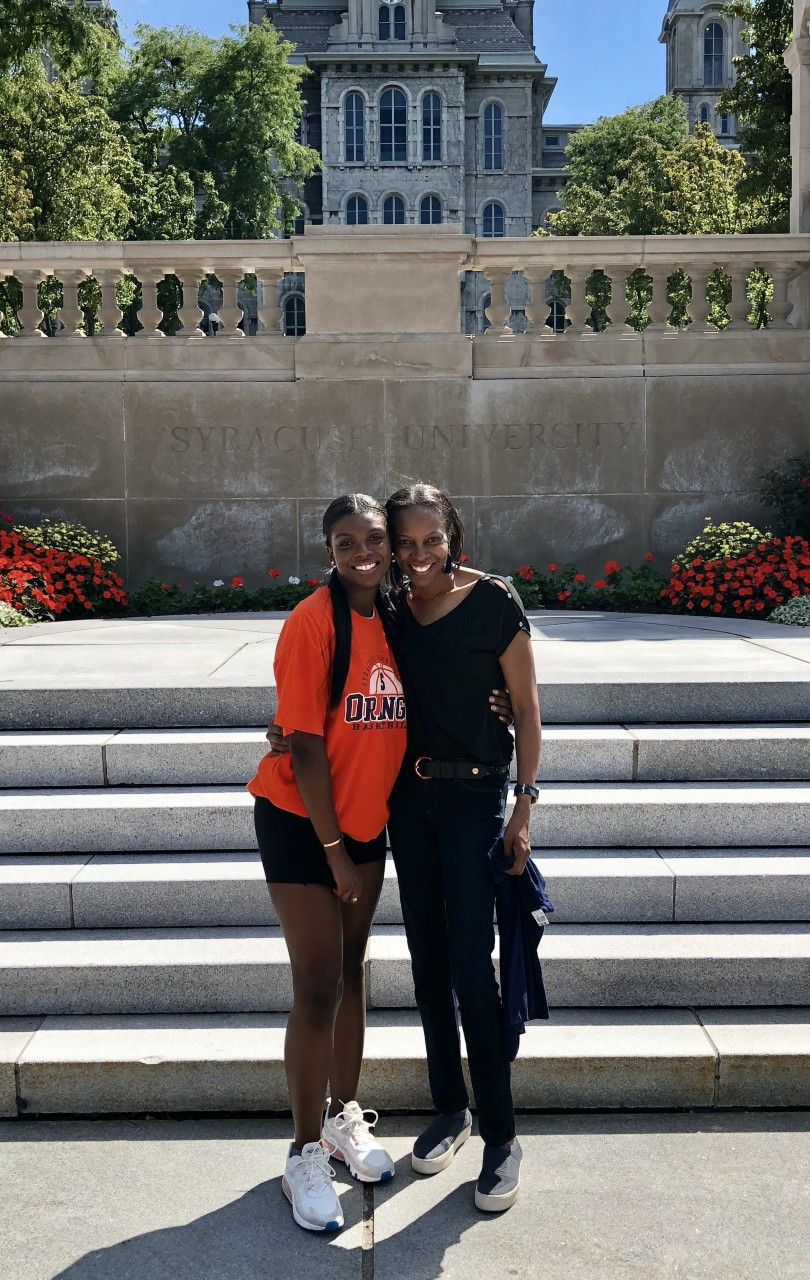 Leah and Carroyl Jones in front of the Hall of Languages