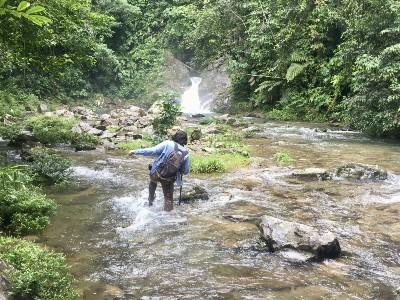 Man wading in stream