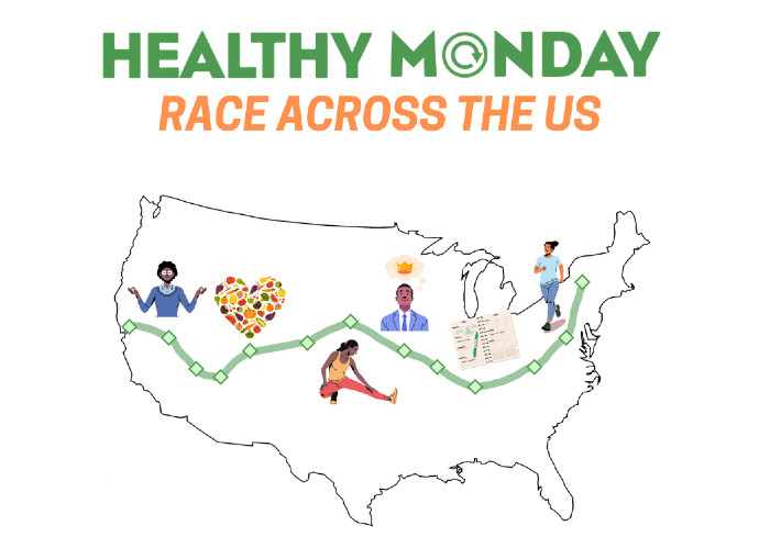 graphic of United States with words Healthy Monday Race Across the US