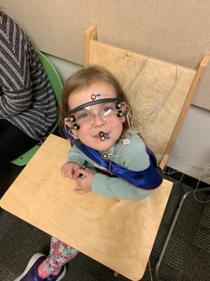toddler participating in research at the Syracuse University Stuttering Research Lab