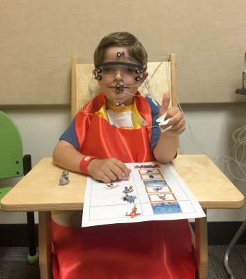 toddler participating in research study at the Syracuse University Stuttering Research Lab