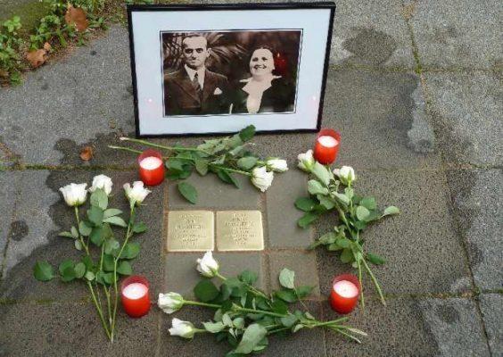 stone memorials placed on the sidewalk in Bochum, Germany