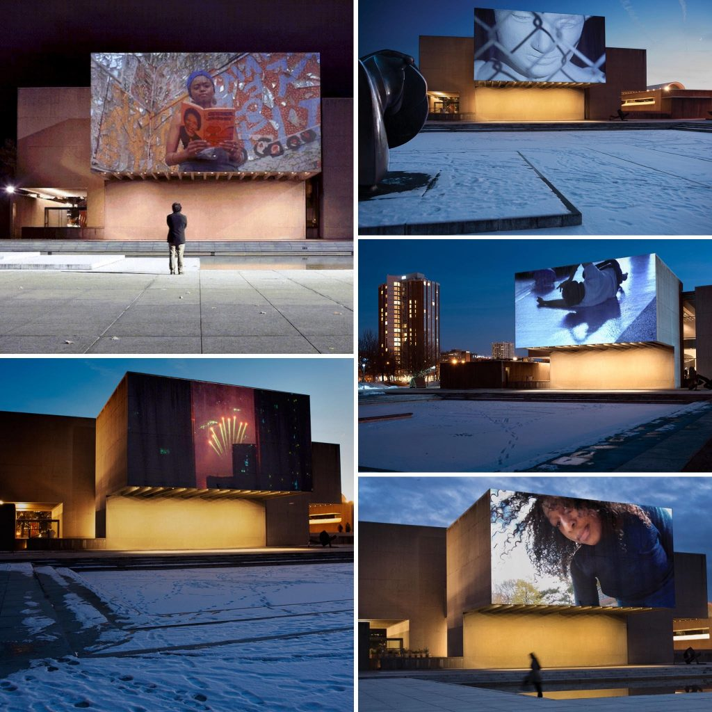 collage of projections at the Everson Museum of Art Plaza, part of the Urban Video Project Summer Review 2021