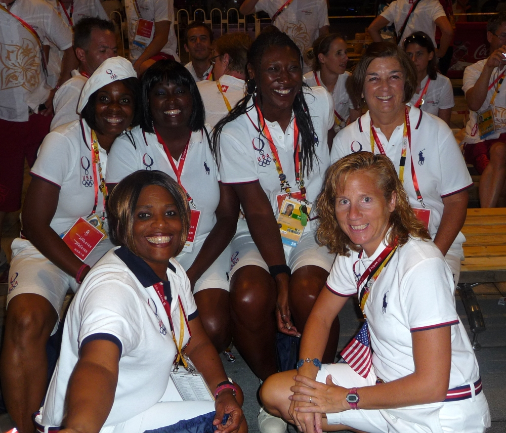 A group of six at the 2008 Olympics closing ceremony