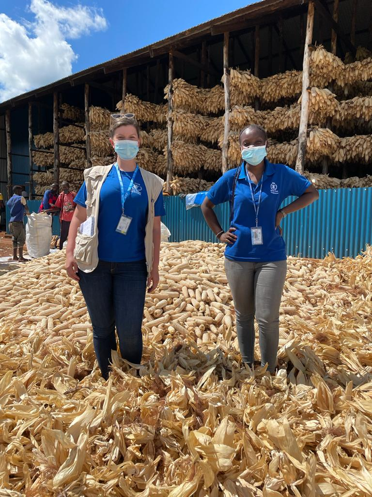Emily Fredenberg and a colleague at a WFP farm coop in Eastern Rwanda in April 2021