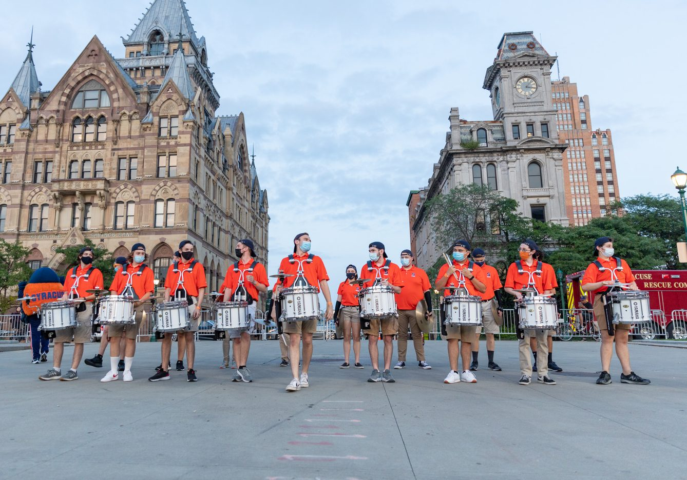 marching band in downtown Syracuse
