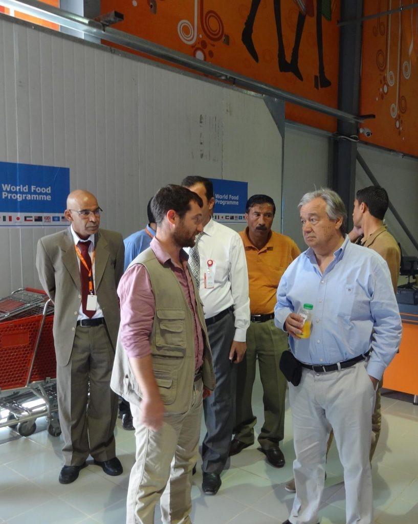 Ryan Beech and Antonio Gutierrez in conversation at a World Food Programme tour in Jordan