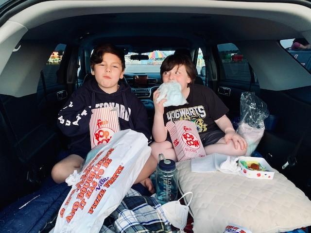 Boys with movie treats