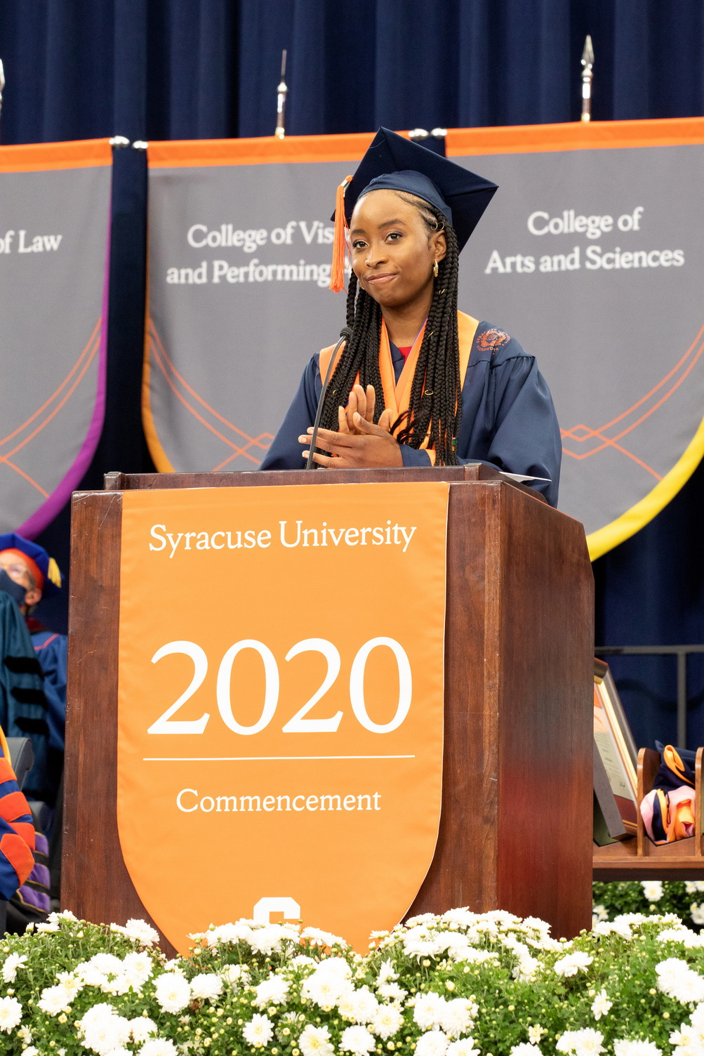 Serena Omo-Lamai '20 addresses the Class of 2020 from the podium