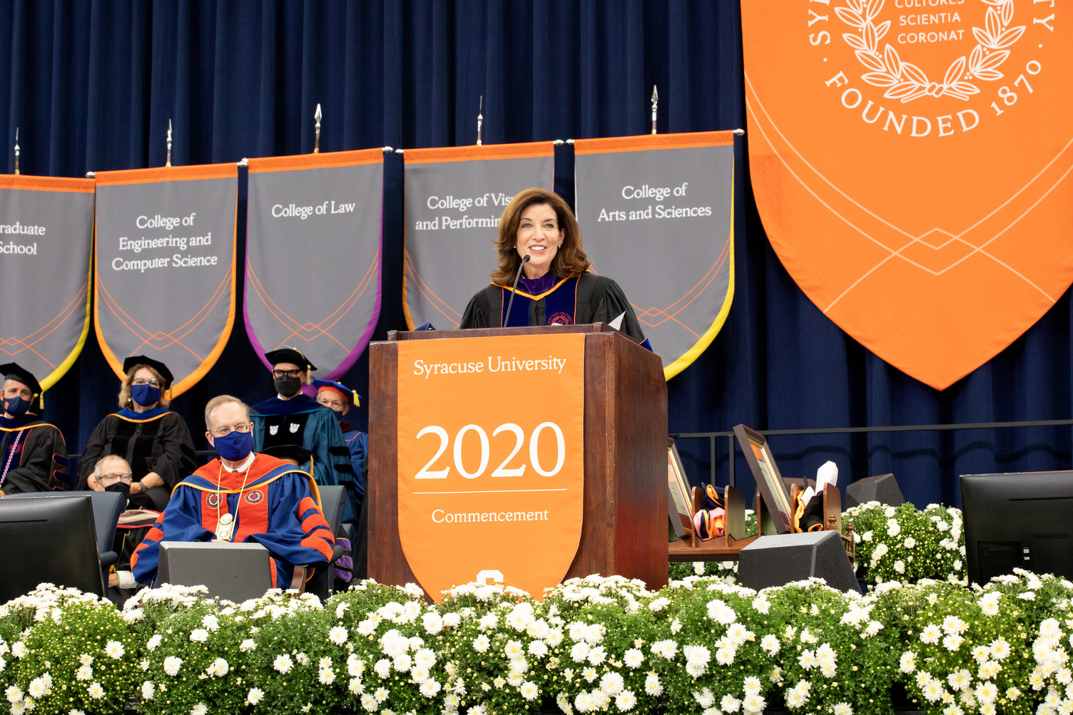 Gov. Kathy Hochul addresses the crowd at 2020 Commencement