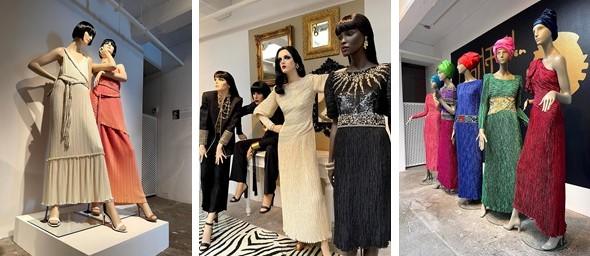 three photos of fashion design exhibition by Mary McFadden