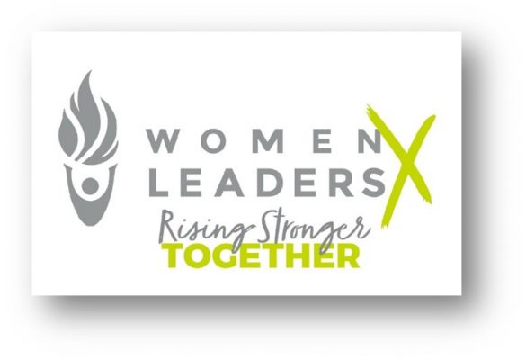 Women Leaders X Rising Stronger Together graphic