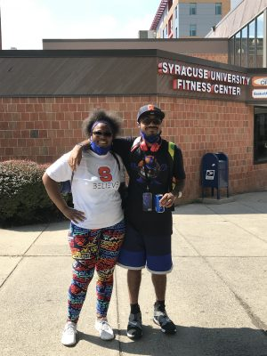 Clarise Shelby-Coleman and Chase Coleman outside of the SU Fitness Center