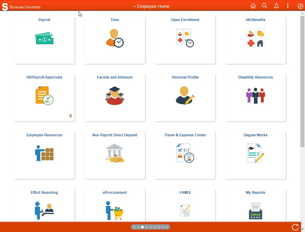 screencap of new Employee Home page in upgraded MySlice with various icons and labels