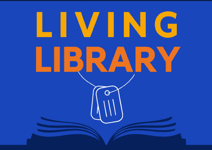 graphic of dog tags over open book with words Living Library